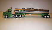 Trucks n Stuff TNS048 - HO Peterbilt 579 Day-Cab Tractor with Chemical Tank Trailer - Assembled -- Heniff (green, chrome)