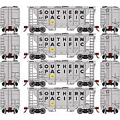 Athearn Roundhouse RND2309 HO Scale - PS-2 2003 2-Bay Covered Hopper - Southern Pacific (4-pack)