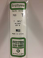 Evergreen Scale Models 769 - Opaque White Polystyrene T Shape .321In x 14In (2 pcs pkg)