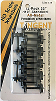 Tangent Scale Models HO 118 33in Normal Tread All Metal Precision Wheelsets -12 pack