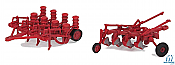 Walthers SceneMaster HO 4162 Farm Plow and Planter assembled Red