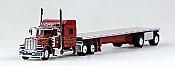 Trucks N Stuff 18TNS006 HO Peterbilt Sleeper With Flatbed Red