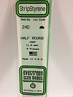 Evergreen Scale Models 240 - Opaque White Polystyrene Half Round .04In x 14In (5 pcs pkg)