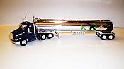 Trucks n Stuff TNS095 HO Peterbilt 579 Day-Cab Tractor with Gas Tank Trailer - Assembled -- Flyers Transport (blue, green, black, yellow, chrome)