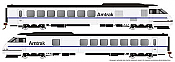 Rapido 25506 - HO Rohr Turboliner - DCC/ Sound - Amtrak X2000 Demonstrator