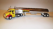 Trucks n Stuff TNS094 HO Peterbilt 579 Day-Cab Tractor with Gas Tank Trailer - Assembled -- Pilot (yellow, red, white, chrome)