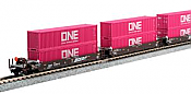 Kato 1066194 - N Scale Gunderson MAXI-I 5-Unit Double-Stack Well Car - 40Ft ONE Containers - Ready to Run - BNSF #238615