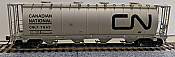 Rapido 127003 HO 3800 cu. ft. Canadian Cylindrical Hopper Canadian National (CNLX) grey w/large black noodle  -6 pack