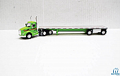 Trucks n Stuff TNS059 HO Peterbilt 579 DayCab Tractor with Flatbed Trailer Assembled St Germain (green,silver)