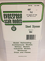 Evergreen Scale Models 4507 - 1/2in x 1/2in Opaque White Polystyrene Square Tile (1sheet)