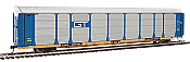 WalthersProto 101338 HO - 89ft Thrall Bi-Level Auto Carrier - Ready To Run - Grand Trunk Western Rack, TTGX Flatcar #88113/253766