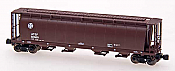 Intermountain Railway Z Scale Cylindrical Covered Hopper w/Trough Hatch - Ready to Run Santa Fe (Mineral Brown)