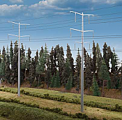 "Walthers Cornerstone 3343 HO Scale Modern High Voltage Transmission Towers Kit - Poles stand 9-3/4"" 24.7cm tall each"