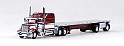 Trucks N Stuff 18TNS014 HO Peterbilt Sleeper With Flatbed Maroon Red With White Stripe