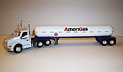 Trucks n Stuff TNS102 HO Kenworth T680 Day-Cab Tractor with Propane Tank Trailer - Assembled -- Amerigas (white, red, blue)
