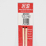 K&S Engineering 5090 All Scale - 1/8 inch OD Square Copper Tube - 0.014 Thick x 12 inch Long (2 pkg)