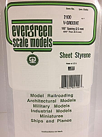 Evergreen Scale Models 2100 .100in Opaque White Polystrene V Groove Siding (1 Sheet)