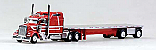 Trucks N Stuff 18TNS011 HO Peterbilt Sleeper With Flatbed Red With Silver Stripe