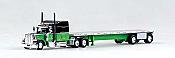 Tucks N Stuff 18TNS005 HO Peterbilt Sleeper With Flatbed Green and Black