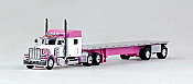 Trucks N Stuff 18TNS004 HO Peterbilt Sleeper With Flatbed Pink and White
