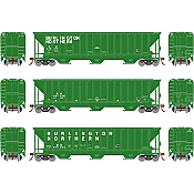 Athearn 18766 - HO RTR PS 4740 Covered Hopper, BN/Late 3 pack