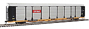 WalthersProto 101330 HO - 89ft Thrall Bi-Level Auto Carrier - Ready To Run - Canadian Pacific Rack, TTGX Flatcar #978007
