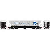 Athearn 18755 - HO RTR PS 4740 Covered Hopper, TLDX Pillsbury/Grey - 6741