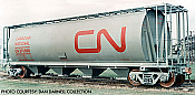 Rapido 127000-6 HO 3800 cu. ft. Canadian Cylindrical Hopper Canadian National (CN grey w/large Red noodle - #369069
