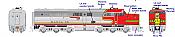 Rapido 23505 HO - PA-1 + PB-1 Locomotive Set - DCC & Sound - Santa Fe #59L+59A