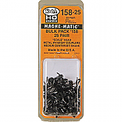 Kadee 158-25 - HO Whisker Scale Self-Centering Knuckle Couplers - Magne-Matic - Medium 9/32in Centerset Shank with #242 Draft Gear Boxes - 25 Pack