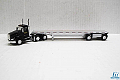 Trucks n Stuff TNS058 HO Peterbilt 579 Day Cab Tractor with Flatbed Trailer Assembled TMC (black tractor,silver trailer)