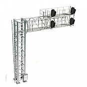 Atlas Model Railroad Co. 70000098 HO Scale 2-Track Modern Cantilever Signal Bridge - All Scales Signal System 4 Signal Heads, Left-Hand Fully Assembled 150-70000098