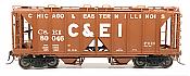 Intermountain 48667-04 HO 1958 Cu Ft 2 Bay Covered  Hopper- Open Sides - C&EI #80037