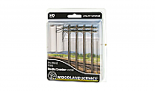 Woodland Scenics 2251 - N Scale Utility System - Double-Crossbar Pre-Wired Poles