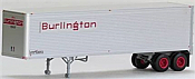 Trainworx 80204-03 HO Brown Exterior-Skin Corrugated 40 Ft Trailer - Assembled - Burlington #CBQZ 6947