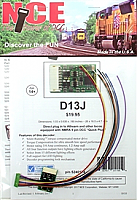 NCE 174 HO D13J Decoder - 1.2 Amp  - with NMRA 9 pin DCC Quick Plug and Harness