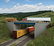 Walthers Cornerstone 4566 - HO Modern Steel and Concrete Highway Overpass with Pipe Railings -- Kit