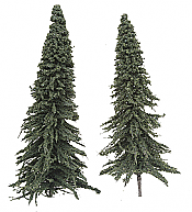 "Grand Central Gems HO T2 Pine Trees 7"" 17.8cm pkg(10)"
