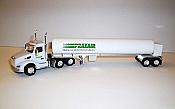 Trucks n Stuff TNS053 - HO Peterbilt 579 Day-Cab Tractor with Cryogenic Tank Trailer - Assembled -- Praxair (white, green)