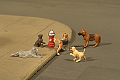 Bachmann 33108 HO Dogs with Fire Hydrant - 6 pcs