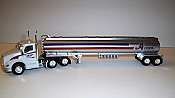 Trucks n Stuff TNS099 HO Kenworth T680 Day-Cab Tractor with Gas Tank Trailer - Assembled -- Jacques Auger (white, red, black, blue, chrome)
