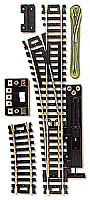 Atlas Model Railroad Code 100 Remote Snap-Switch(R)  Nickel-Silver Rail & Black Ties Left