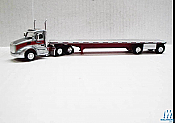 Trucks n Stuff TNS126 Ho Peterbilt 579 Daycab Tractor with Flatbed Trailer Assembled Gigli Hay (silver,red)