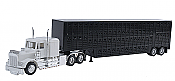 Herpa Models 6347 HO Kenworth W-900 w/Skirted Chassis, Tool Box & 48 Ft Livestock Trailer