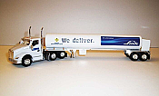 Trucks n Stuff TNS056 - HO Kenworth T680 Day-Cab Tractor with Cryogenic Tank Trailer - Assembled -- Linde (white, blue)