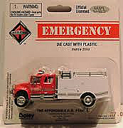 Boley American Trucks - HO 2059-17 - International 2-Axle Bush Fire Crew Cab /Red Cab Roof & White Body - 4 Doors