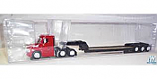 Trucks N Stuff 95174 HO Freightliner Cascadia Day-Cab Tractor with 3 Axle Lowboy Trailer Assembled Red Tractor, Black Trailer