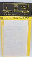 CDS Lettering 68 HO Scale - GTW wood or steel caboose - modern GT logo - Dry Transfer Lettering Sets - White