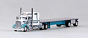 Trucks N Stuff 18TNS013 HO Peterbilt Sleeper With Flatbed White With Turquoise