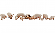 Woodland Scenics 1957 - HO Scenic Accents(R) - Animal Figurines - Yorkshire Pigs (12/pkg)